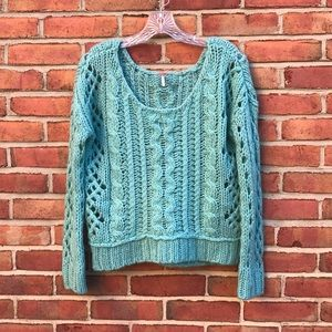 Free People Chunky Cable Knit Scoop Neck Sweater